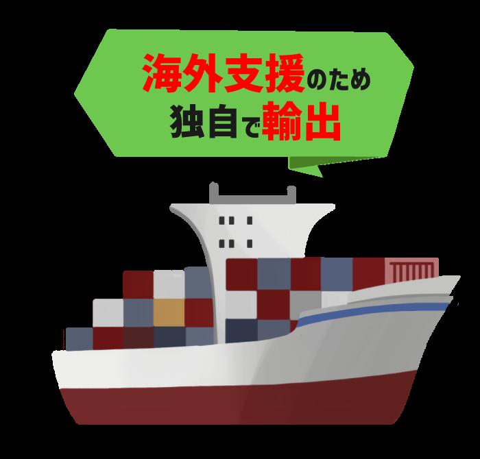 海外支援のため独自で輸出